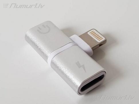 IPhone adapteris Lightining uzlādēšana un austiņas