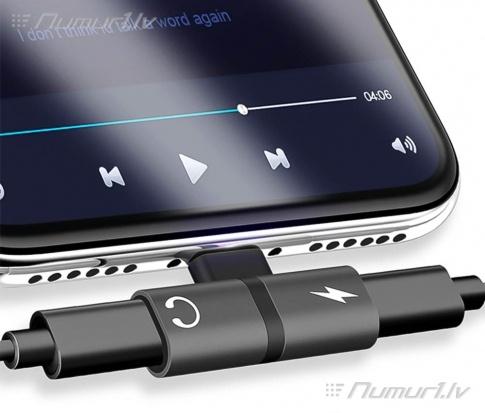 iPhone lādēšanas un austiņu adapteris